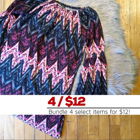 WinWin Dresses & Skirts - (EUC) Boutique Chevron Bell Sleeve Tunic Dress